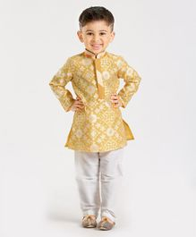 Little Aryan Full Sleeves Textured Kurta & Pajama Set - Yellow
