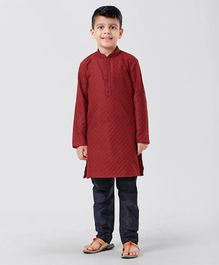 Little Aryan Full Sleeves Self Printed Kurta Pyjama Set - Red