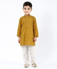 Little Aryan Full Sleeves Printed Kurta Pyjama Set - Yellow