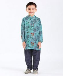Little Aryan Full Sleeves Kurta And Pyjama Reindeer Print - Aqua & Navy Blue