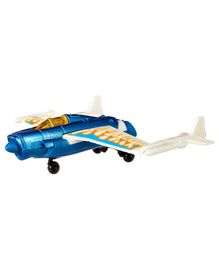 Hot Wheels Duel Tail Die Cast Free Wheel Plane Toy - Blue White