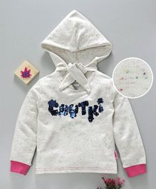 Chhota Bheem Full Sleeves Hooded Sweatshirt Chutki Sequin Patch - White