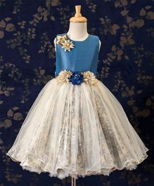 Bluebell Long Frock With Flower Applique - Blue & Cream
