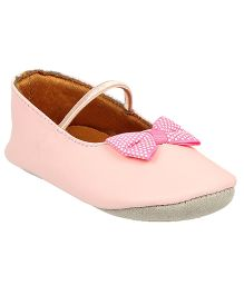 Beanz Bow Applique Booties - Light Pink