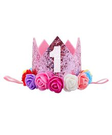 Ziory Birthday Glitter Crown Hat With Rose Flower - Pink