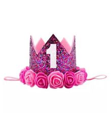 Ziory Birthday Glitter Crown Hat With Rose Flower - Dark Pink