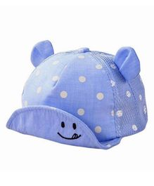 Ziory Mesh Polka Dot Cap With Foldable Hood - Blue & White