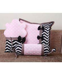 My Gift Booth Polka Dot Cupcake Cushion Cover Set Baby Pink Black - Set Of 3