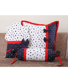 My Gift Booth Star Cupcake Cushion Cover Set White Navy Blue - Set Of 3