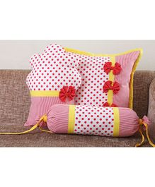 My Gift Booth Polka Cupcake Cushion Cover Set White Red Yellow - Set Of 3