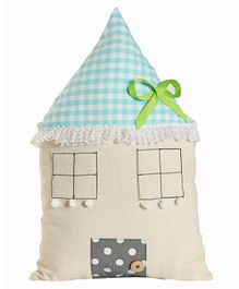 My Gift Booth House Shape Canvas Cushion - Cream Light Blue
