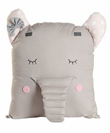 My Gift Booth Elephant Shape Linen Cushion - Grey