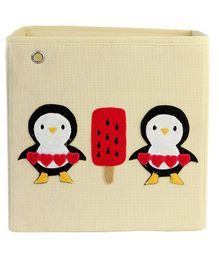 My Gift Booth Storage Box Penguin Design - White Red