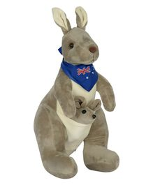 Dhoom Soft Toys Kangaroo With Scarf Grey - Height 30 cm