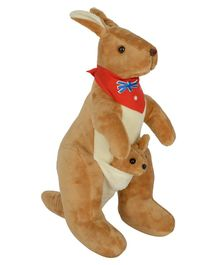Dhoom Soft Toys Kangaroo With Scarf Brown - Height 30 cm