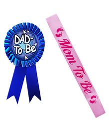 Party Propz Dad To Be Badge & Mom To Be Sash - Blue Pink