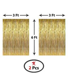 Party Propz Metallic Fringe Foil Curtain Pack of 2 - Golden