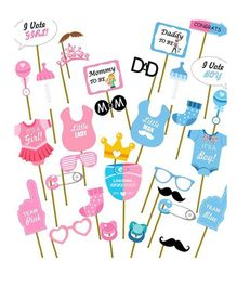 Party Propz Baby Shower Photo Booth Props Pack of 31 - Blue Pink