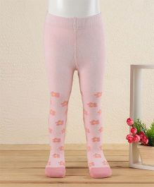 Mustang Footed Tights Floral Design - Pink