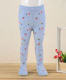 Mustang Footed Tights Floral Design - Blue