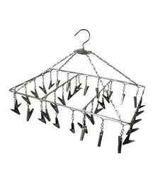 Hazel Stainless Steel Square Hanger With Clips - Black