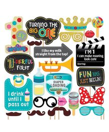 Party Propz 1st Birthday Photobooth Props Multicolour - 24 Pieces