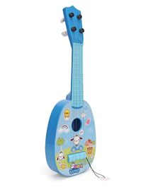 Musical Acoustic Guitar Cartoon Design - Blue