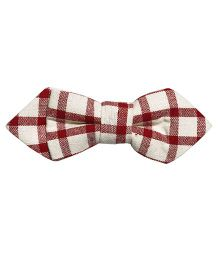 Little Hip Boutique Checks Pin Bow - Cream & Red