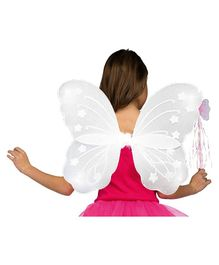 Party Propz Fairy Butterfly Wings With Wand & Hairband For Girls - White