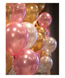 Party Propz Latex Metallic Balloons Pack of 51 - Pink & Golden