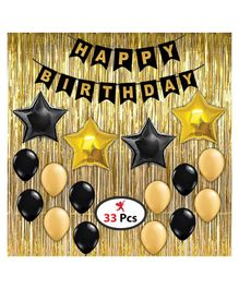 Party Propz Happy Birthday Decoration Pack of 33 - Black & Gold