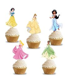 Party Propz Disney Princess Cup Cake Topper Girls Birthday Decoration Pack of 14 - Multi Colour