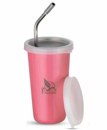 Falcon Steel Straw Sipper With Lid Pink - 300 ml