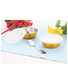 Falcon Non Spill Steel Snack Bowl With Spoon Golden - Pack of 2