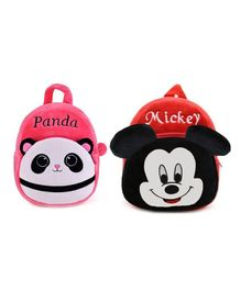 Frantic Velvet Panda & Mickey Mouse Bags Pack of 2 - 14 Inches