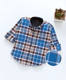 Dapper Dudes Checks Full Sleeves Shirt With Front Pocket - Blue