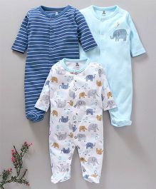 I Bears Full Sleeves Footed Rompers Pack of 3 - Blue White