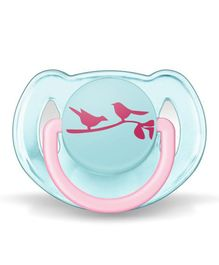 Avent Orthodontic Free Flow Soother Sparrow Print - Aqua Blue