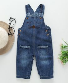 Kookie Kids Face Design Sleeveless Dungaree - Navy