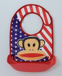 Ladybug Feeding Bib With Crumb Catcher Tray Monkey Print - Red