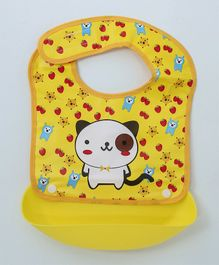 Ladybug Feeding Bib With Crumb Catcher Tray Kitty Print - Yellow