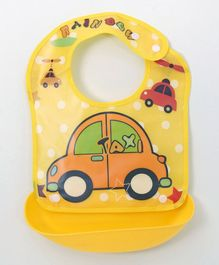Ladybug Feeding Bib With Crumb Catcher Tray Toy Car Print - Yellow