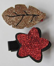 Milonee Combo Of Glittery Flower & Leaf Clip - Red & Gold