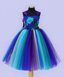 Indian Tutu Flower Embellished Singlet Tutu Dress - Blue