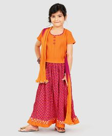 Exclusive From Jaipur Short Sleeves Choli And Lehenga With Dupatta - Orange Pink