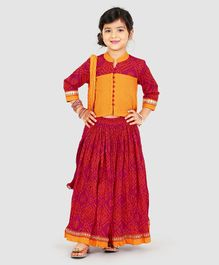 Exclusive From Jaipur Three Fourth Sleeves Choli And Lehenga With Dupatta - Orange Pink