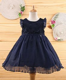 Amigo 7 Seven Flower Embroidery Sleeveless Net Dress - Navy