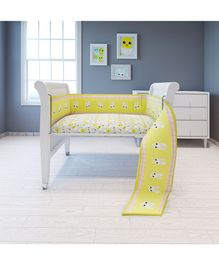 Fancy Fluff Cot Full Bumper Bunny Print - Yellow