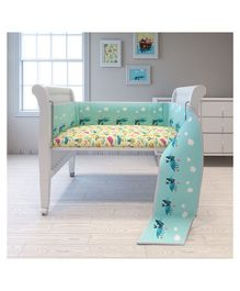 Fancy Fluff Cot Full Bumper Noahs Ark Design - Blue
