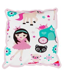Fancy Fluff Rai Pillow Princess Design - White & Pink